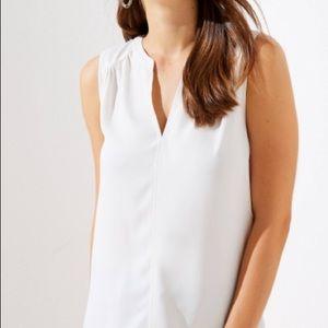 LOFT white sleeveless blouse